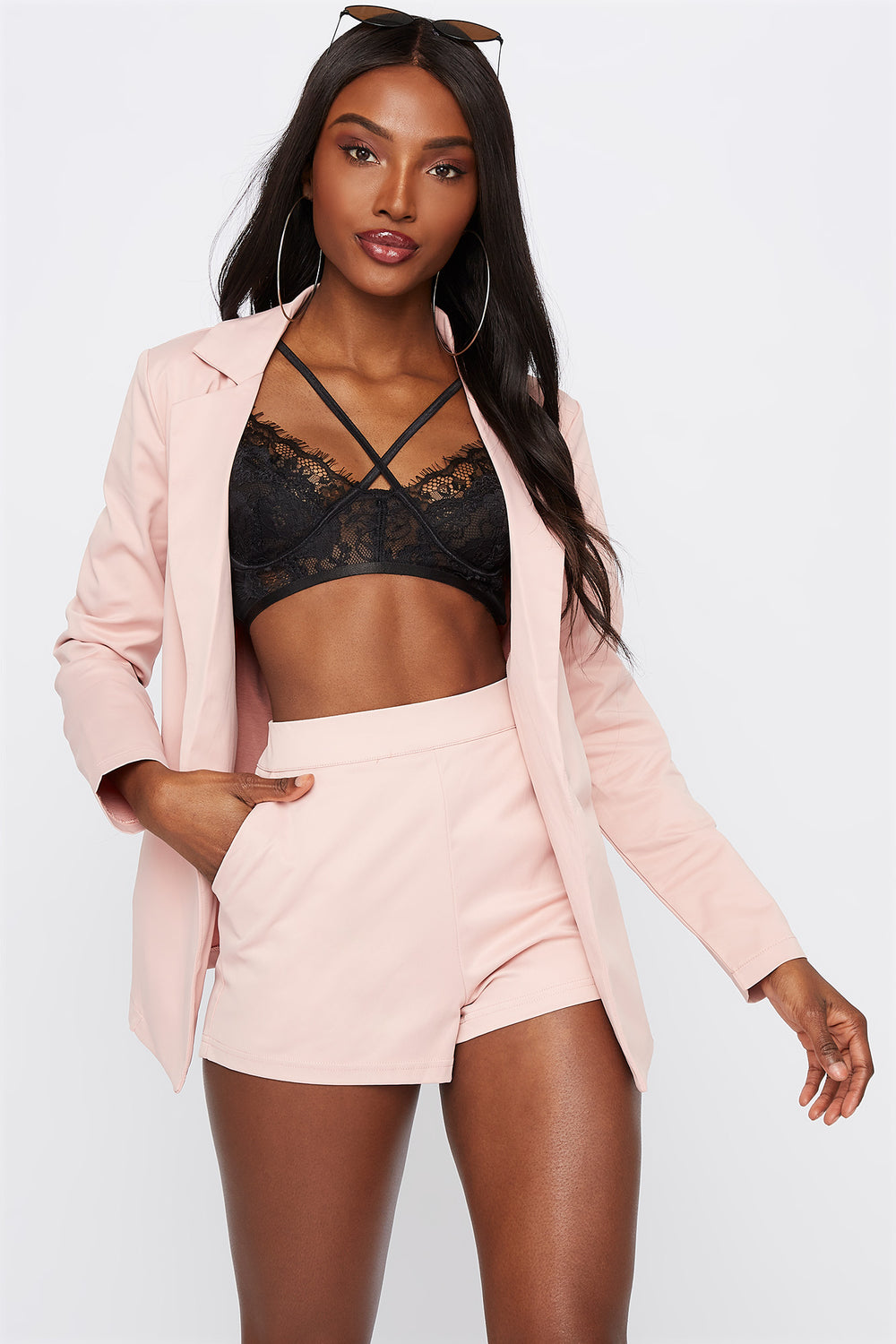 Pull-On High-Rise Short Light Pink