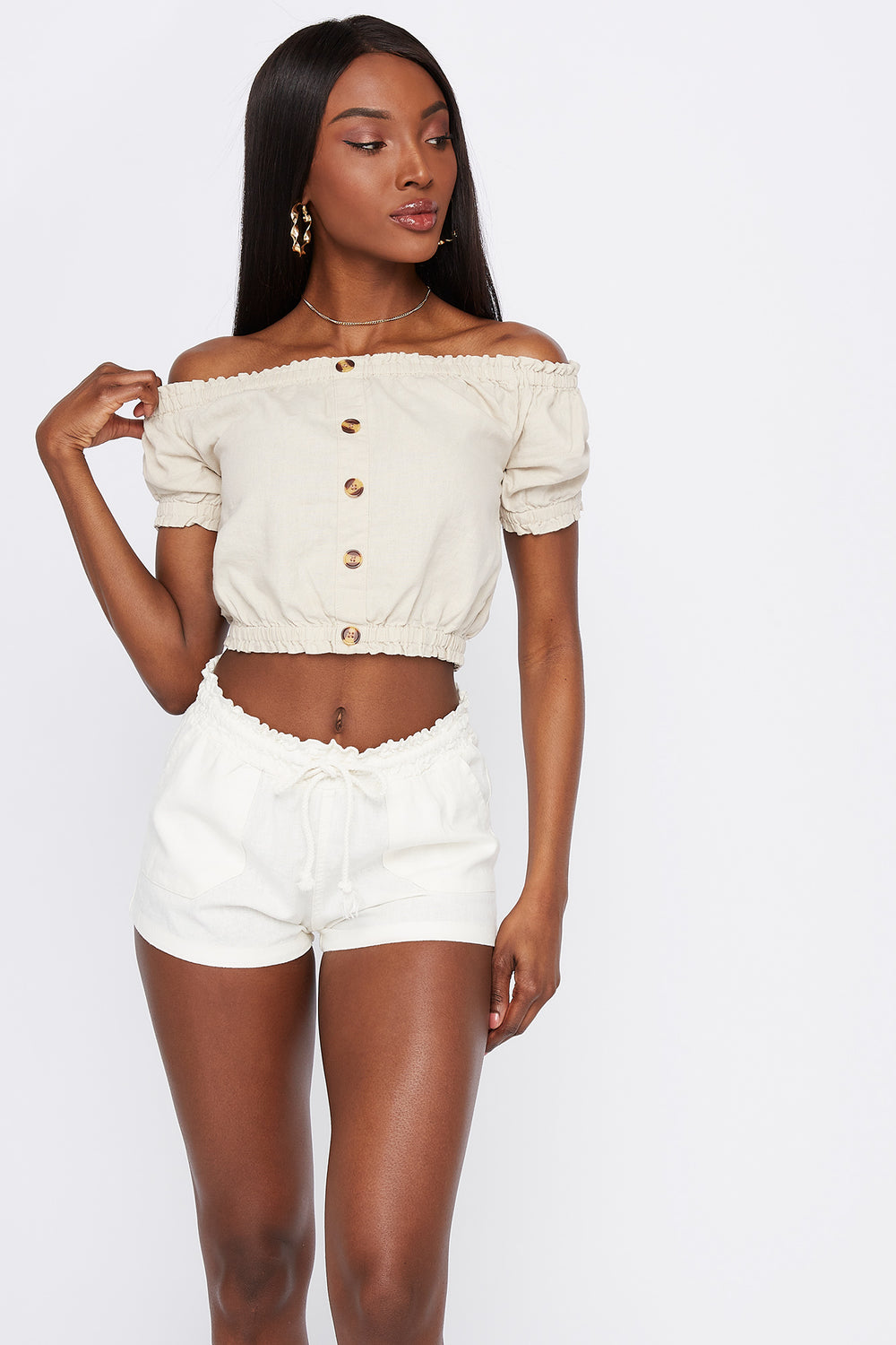 Linen Drawstring Short White