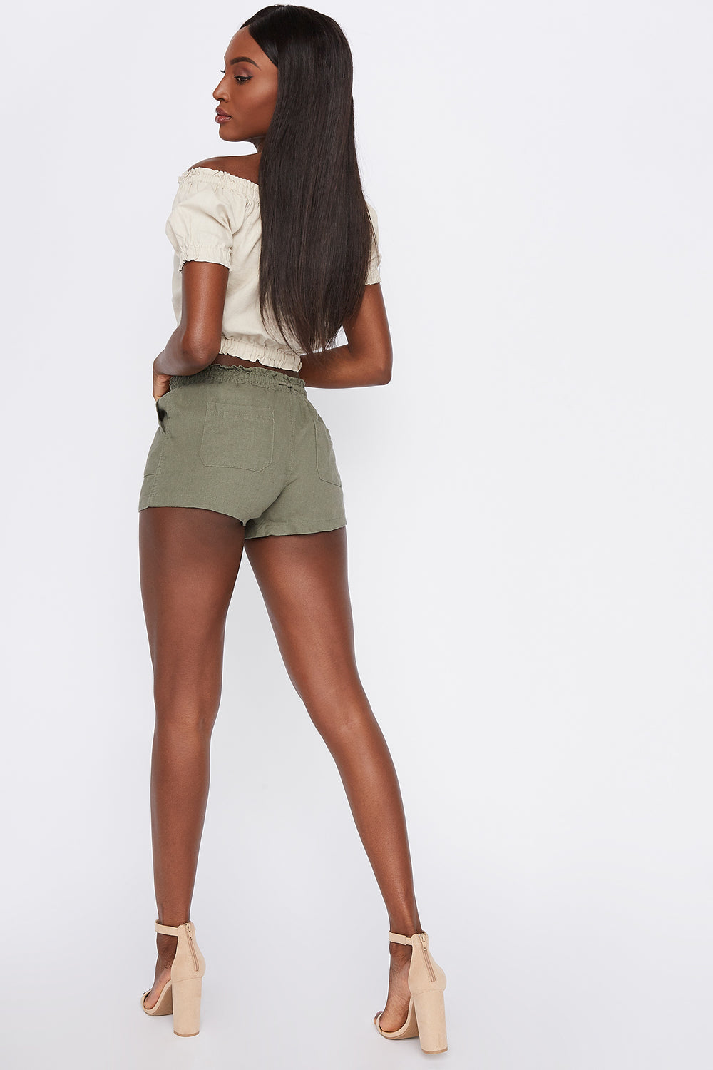Linen Drawstring Short Dark Green