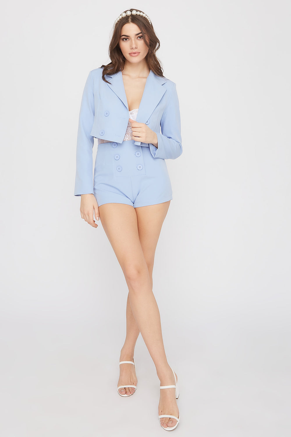High-Rise Double Button Short Light Blue