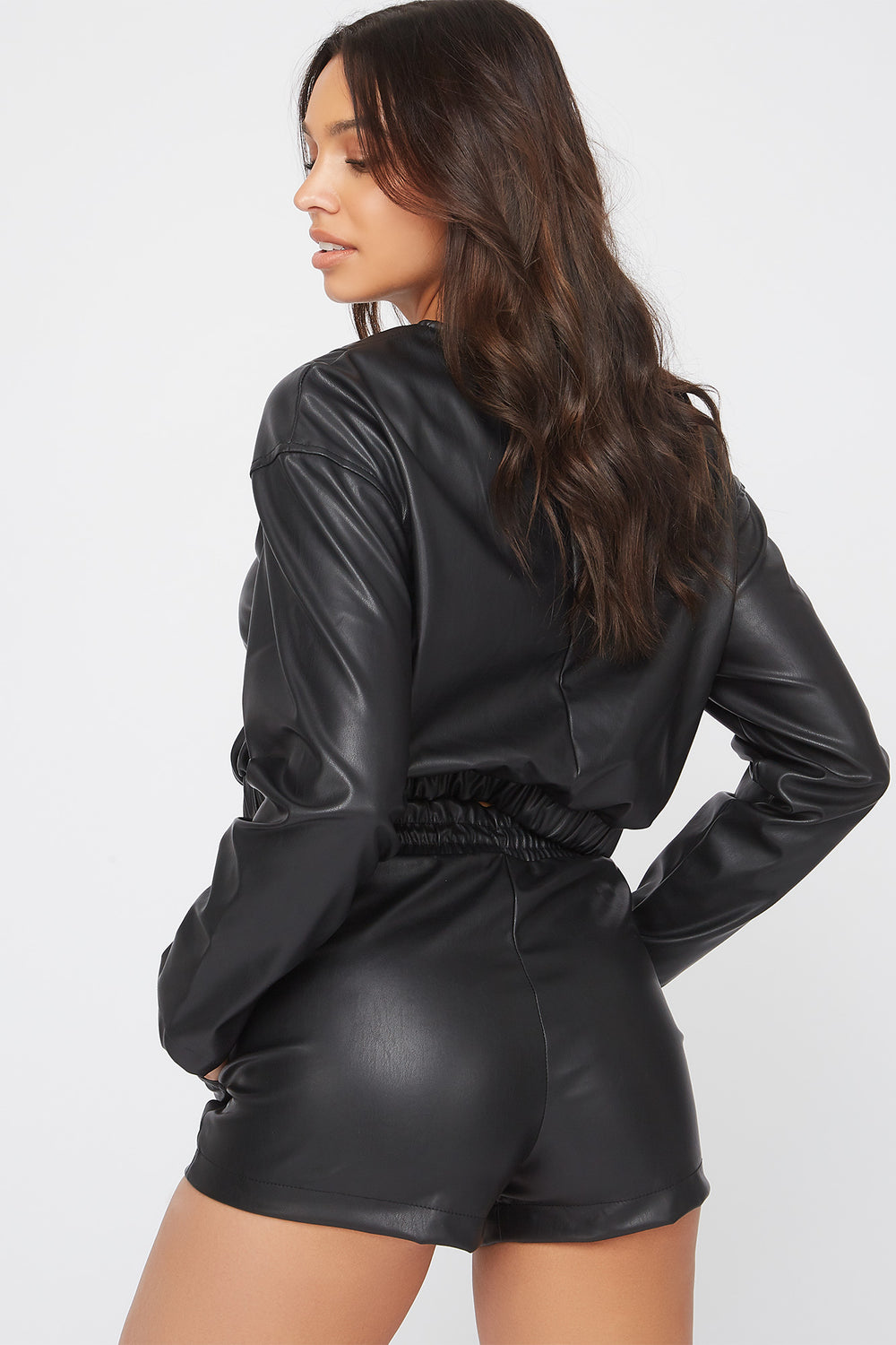 Faux-Leather Short Black