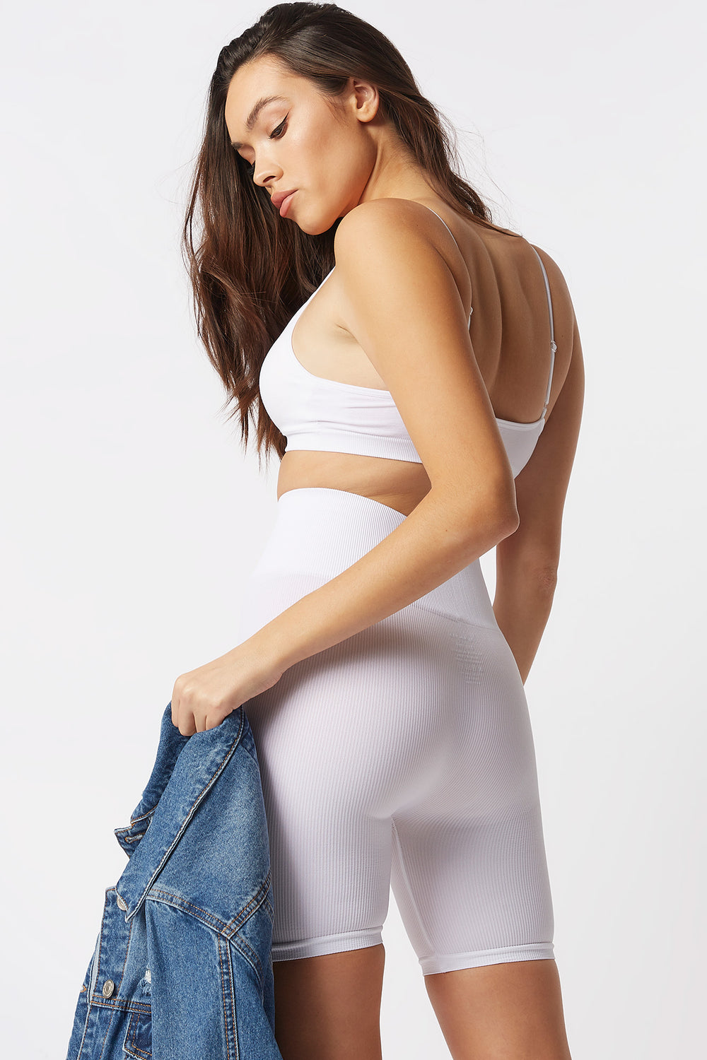 High-Rise Seamless Ribbed Biker Short White
