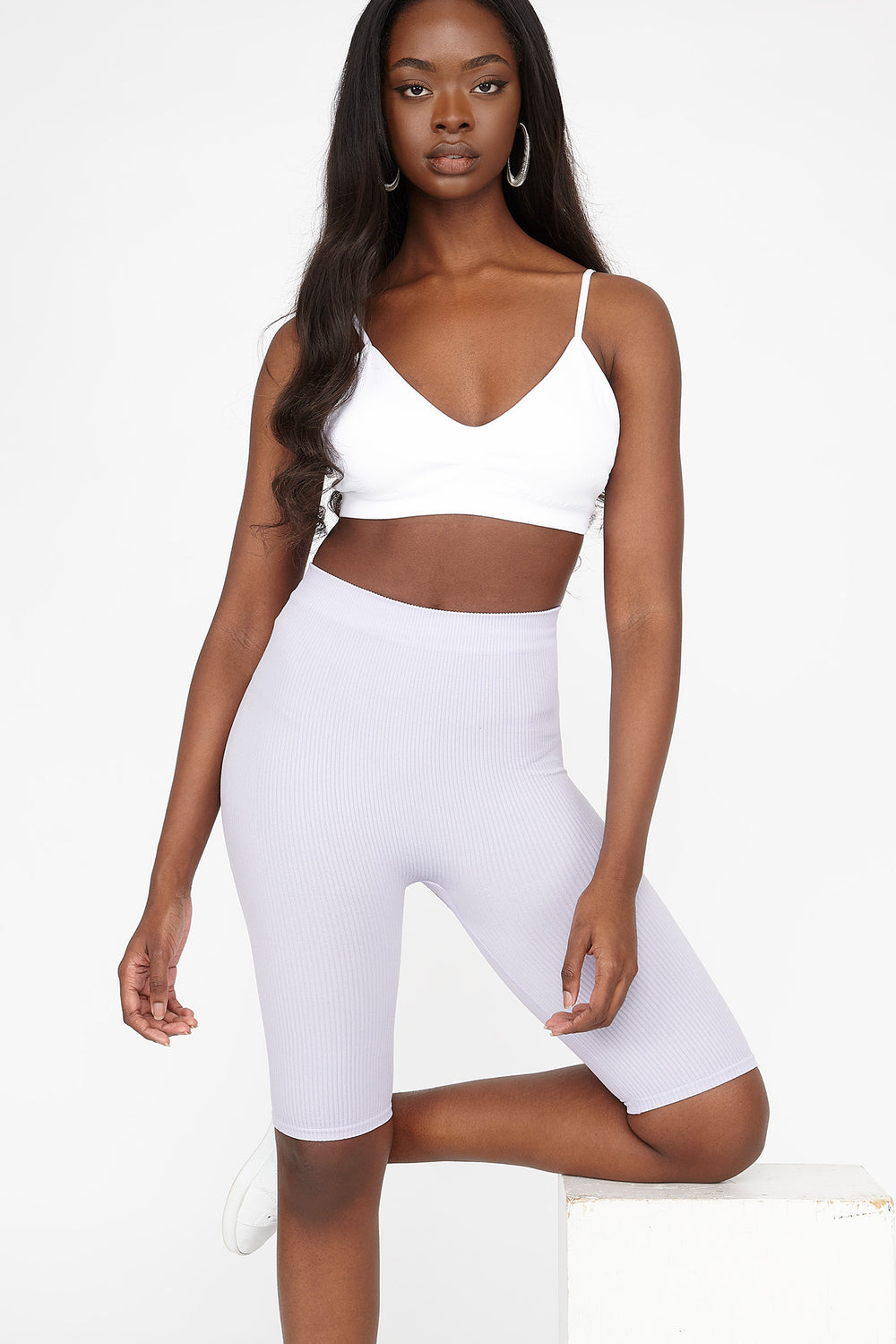 High-Rise Ribbed Longline Biker Short Lilac