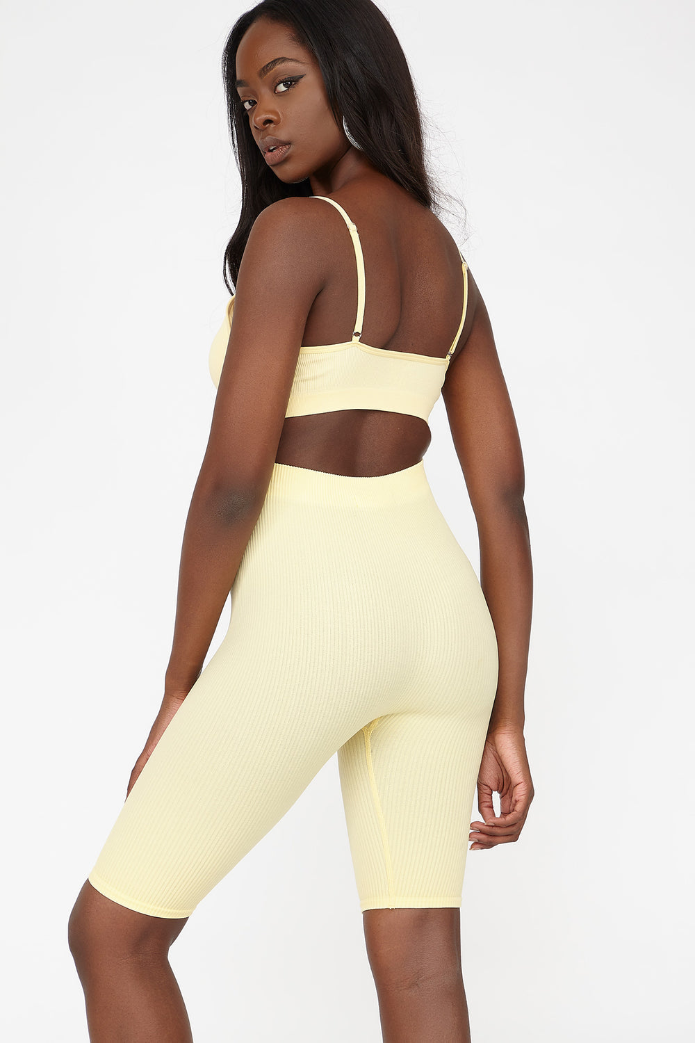 High-Rise Ribbed Longline Biker Short Yellow
