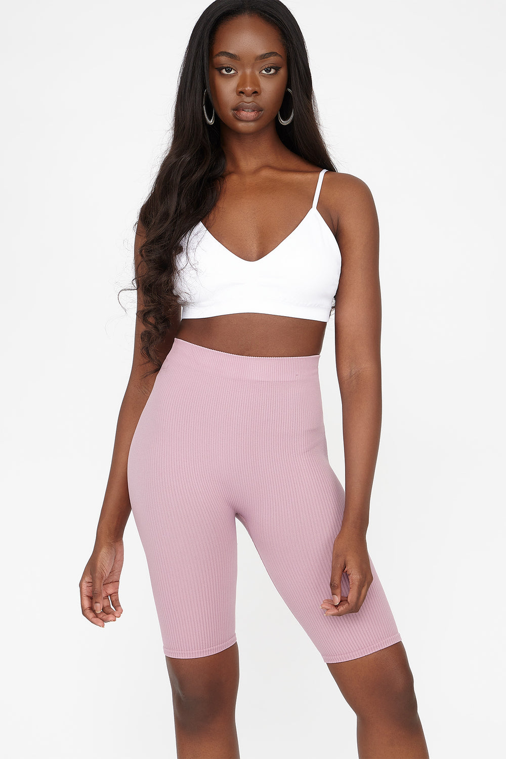 High-Rise Ribbed Longline Biker Short Dusty Rose