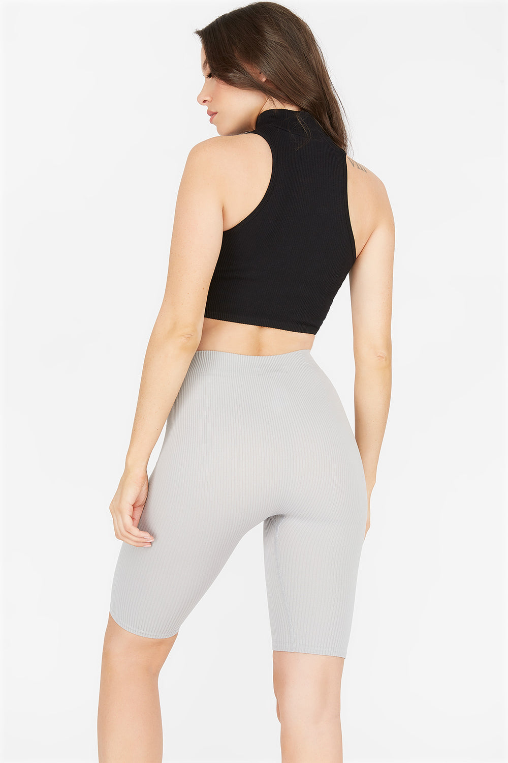 High-Rise Ribbed Longline Biker Short Heather Grey