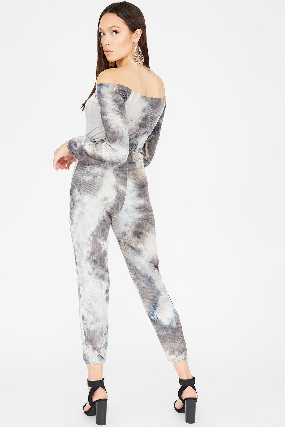 Ribbed Grey Tie Dye Off The Shoulder Self-Tie Jogger Jumpsuit Charcoal