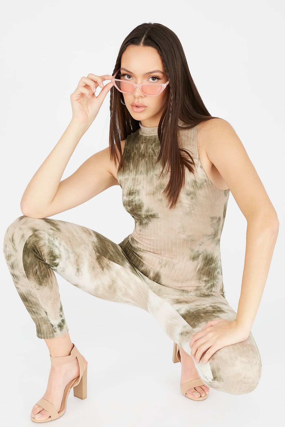Ribbed Green Tie Dye Mock Neck Sleeveless Jumpsuit Camouflage