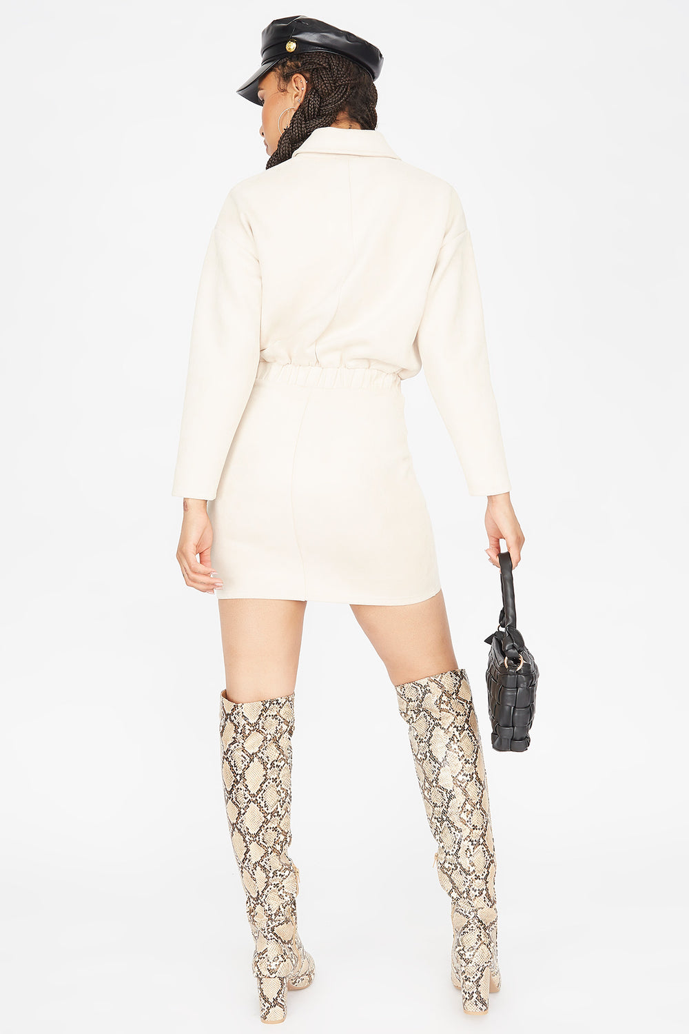 Faux-Suede Button-Up Utility Mini Dress Cream