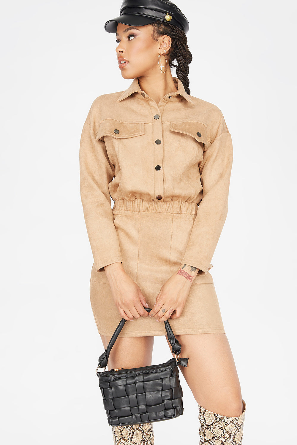 Faux-Suede Button-Up Utility Mini Dress Camel