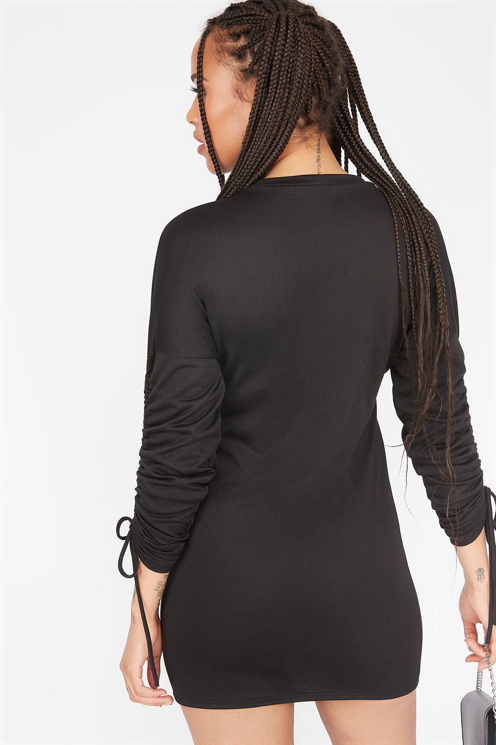 French Terry Ruched Sleeve Mini Dress Black