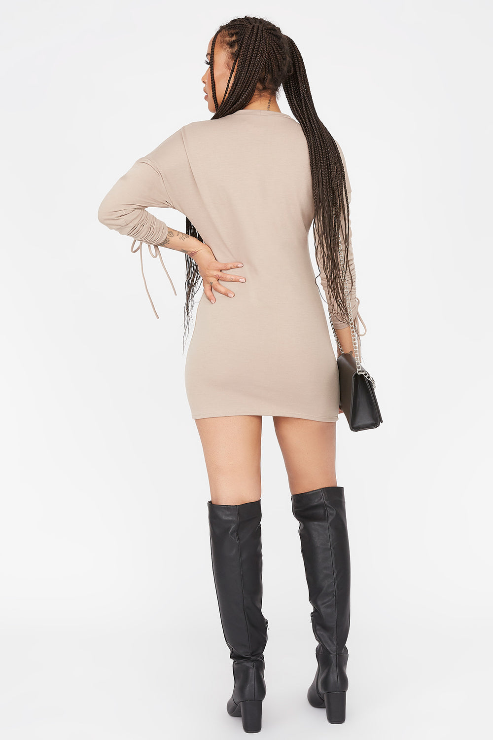 French Terry Ruched Sleeve Mini Dress Brown