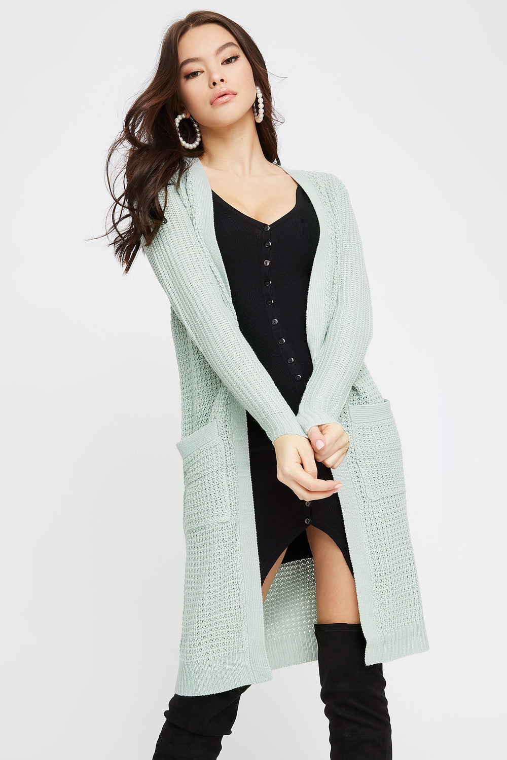 Open-Front Longline Waffle Cardigan Sage