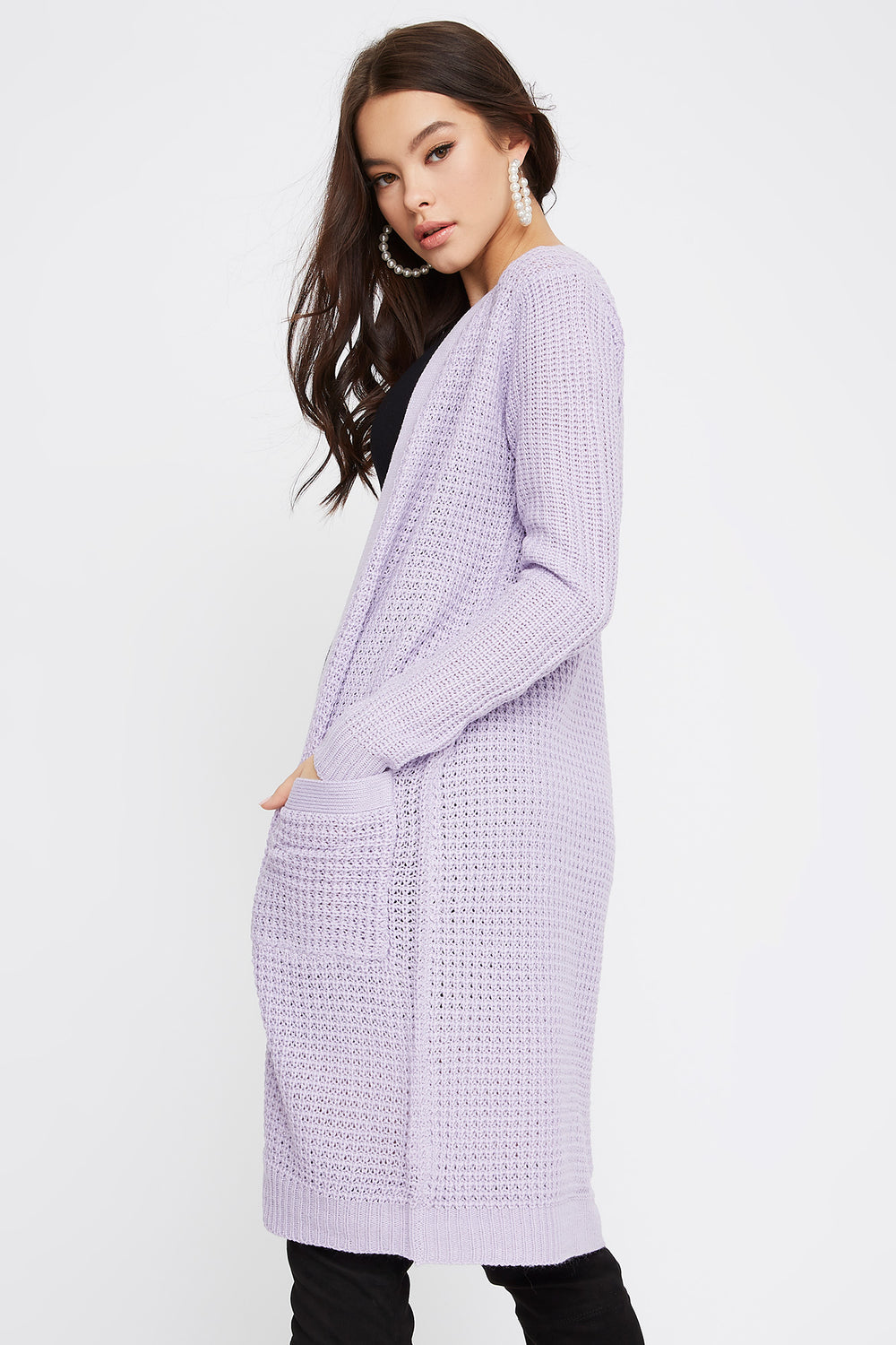 Open-Front Longline Waffle Cardigan Lilac