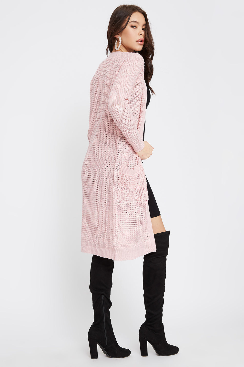 Open-Front Longline Waffle Cardigan Pink