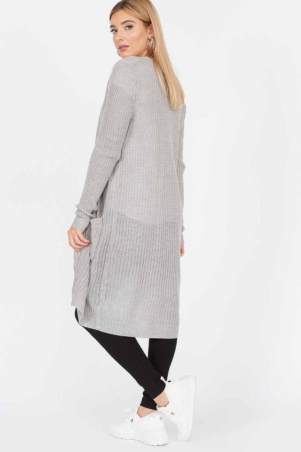 Knit Open Front Pocket Cardigan Heather Grey