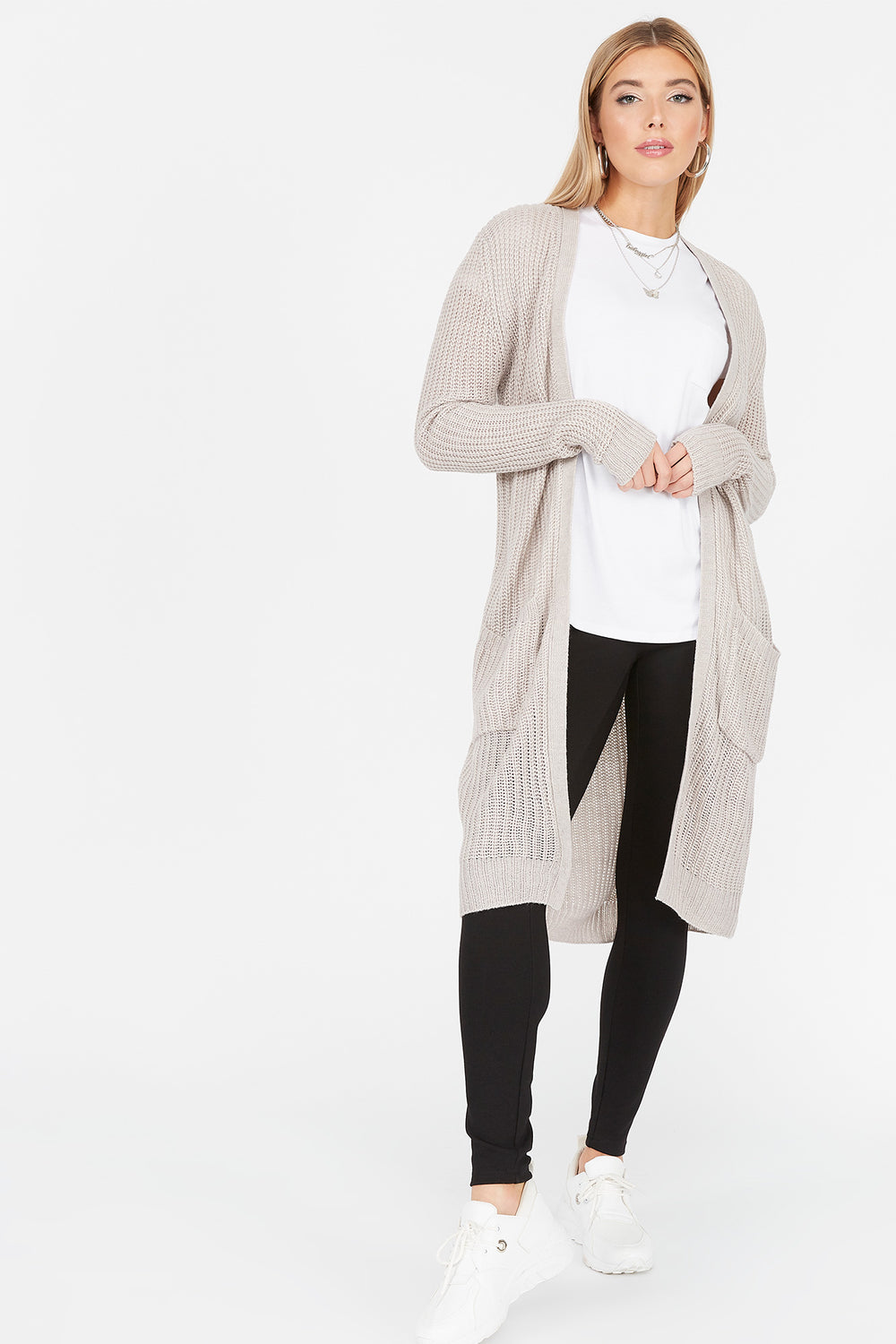 Knit Open Front Pocket Cardigan Oatmeal