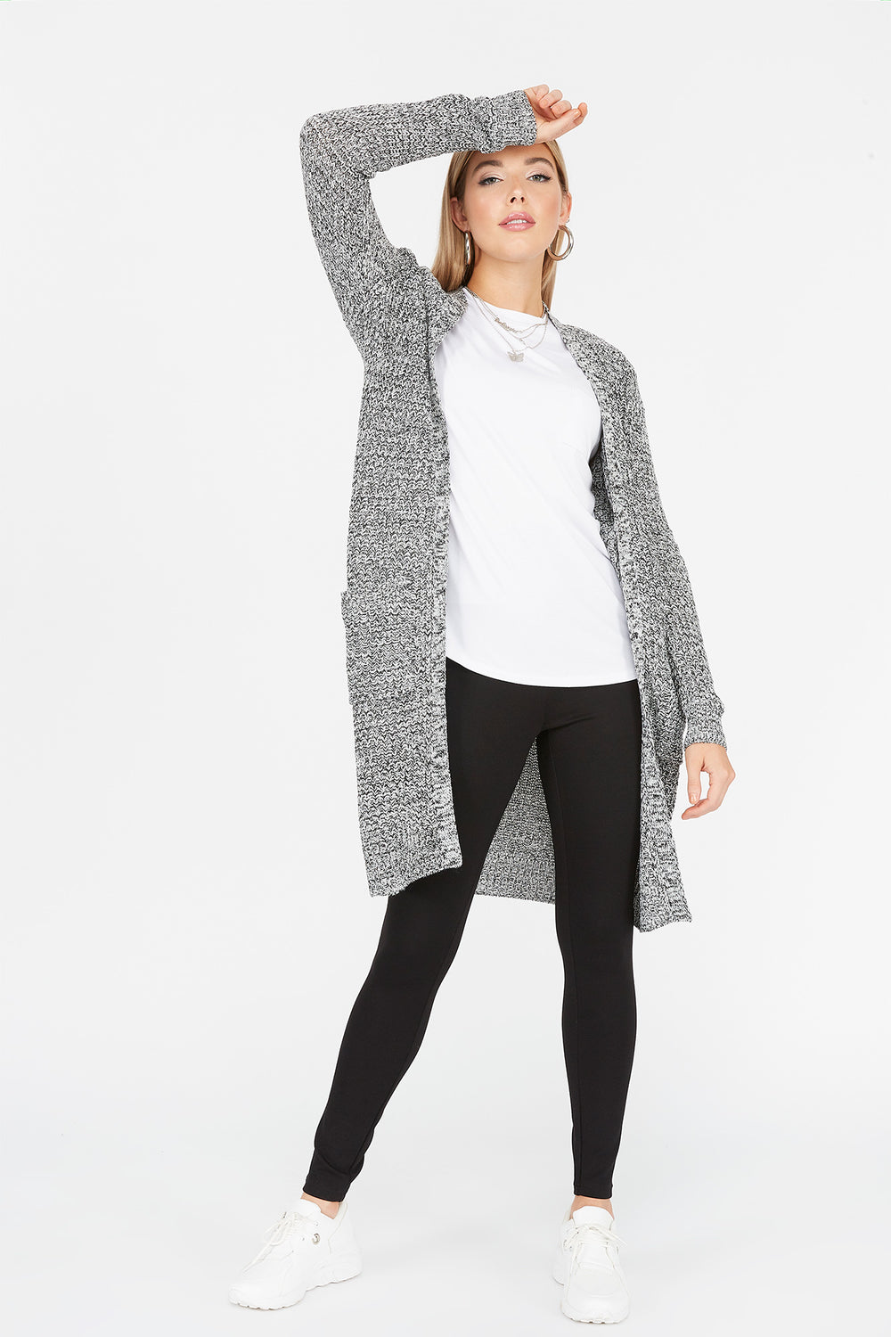 Knit Open Front Pocket Cardigan Black with White