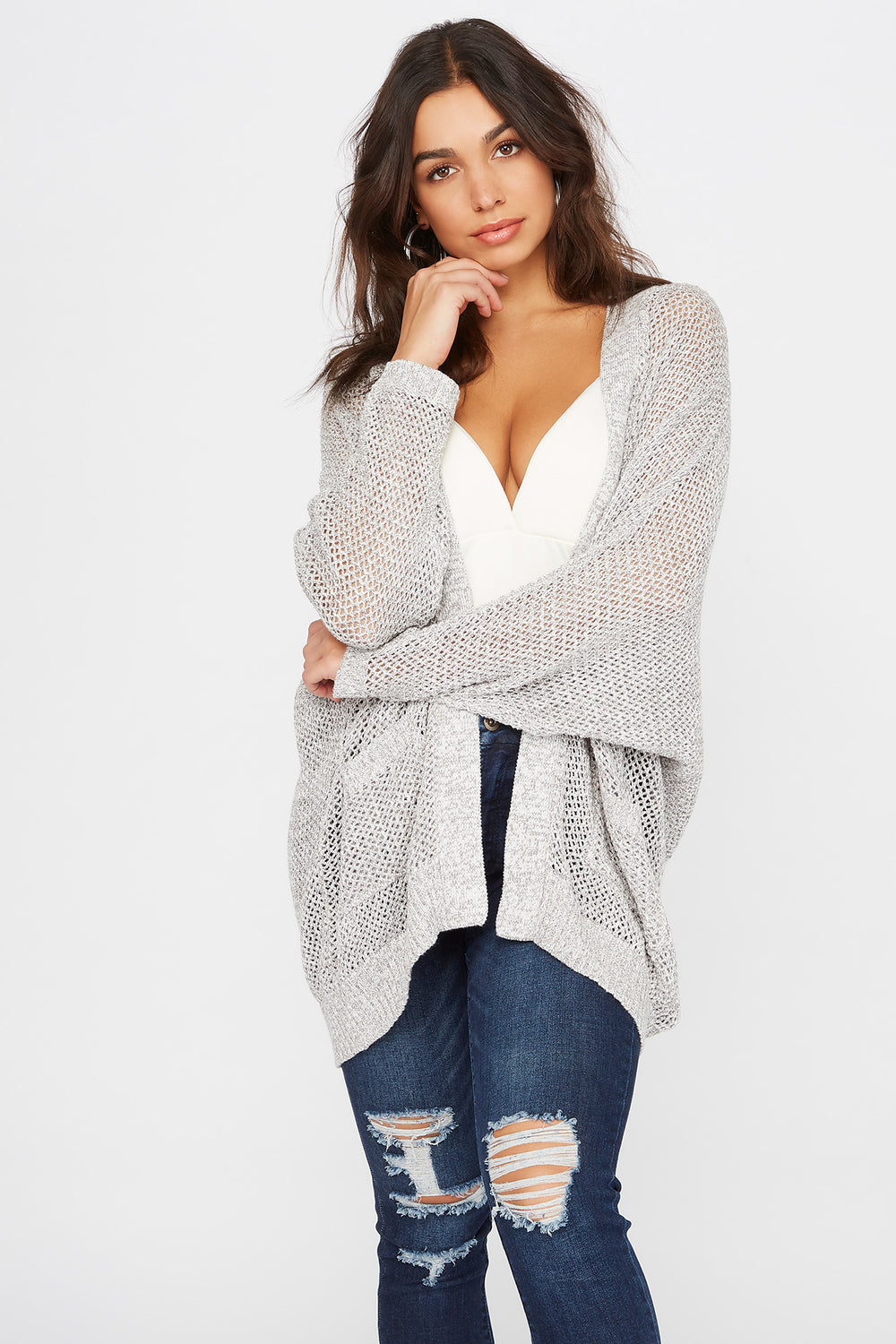 Waffle Open-Front Cocoon Cardigan Heather Grey