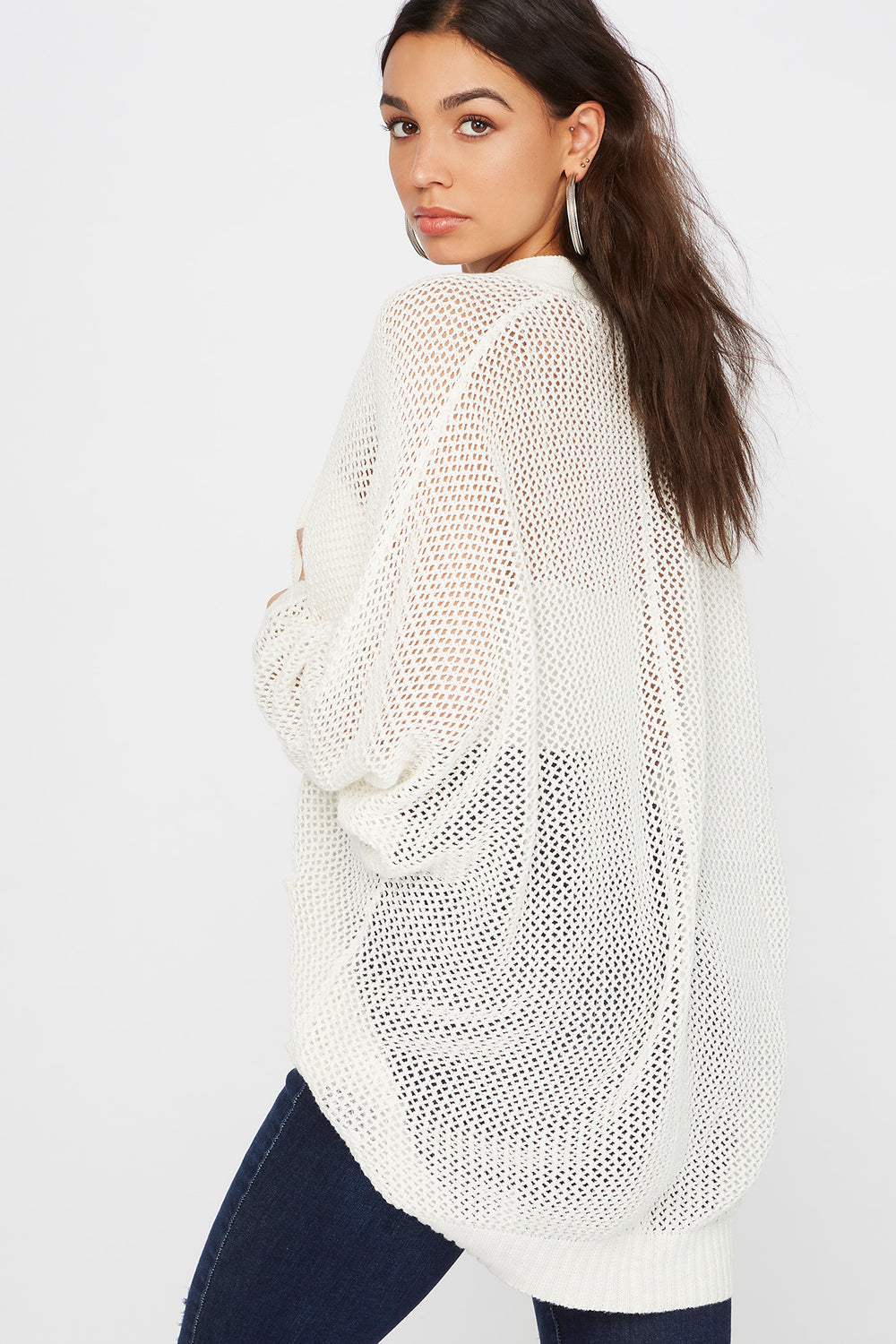 Waffle Open-Front Cocoon Cardigan White