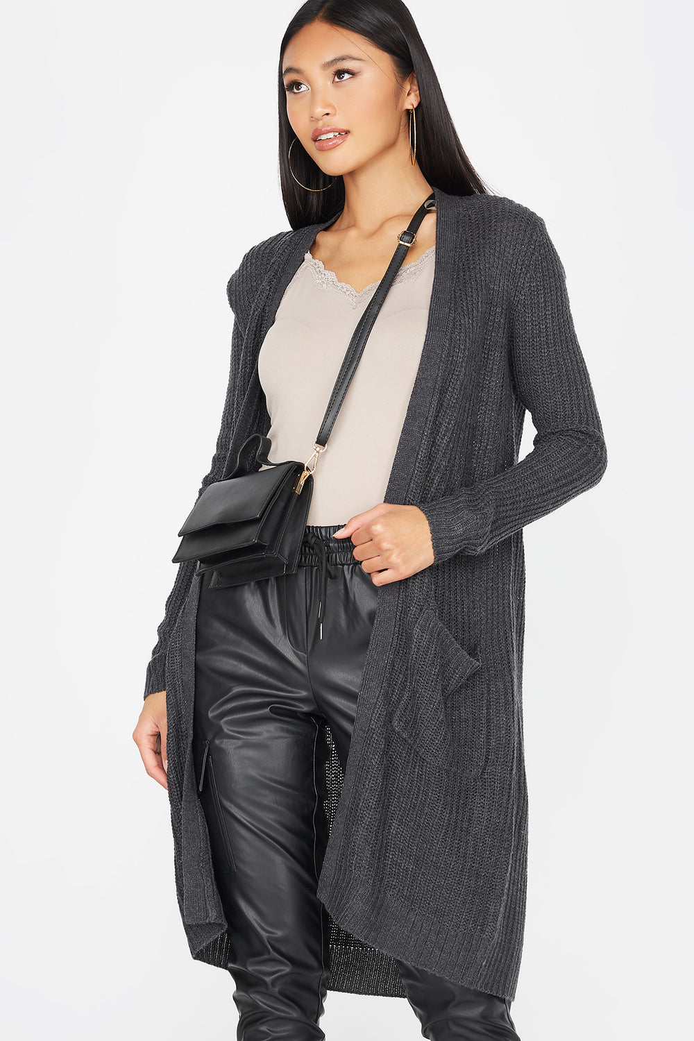 Knit Open Front Longline Pocket Cardigan Charcoal