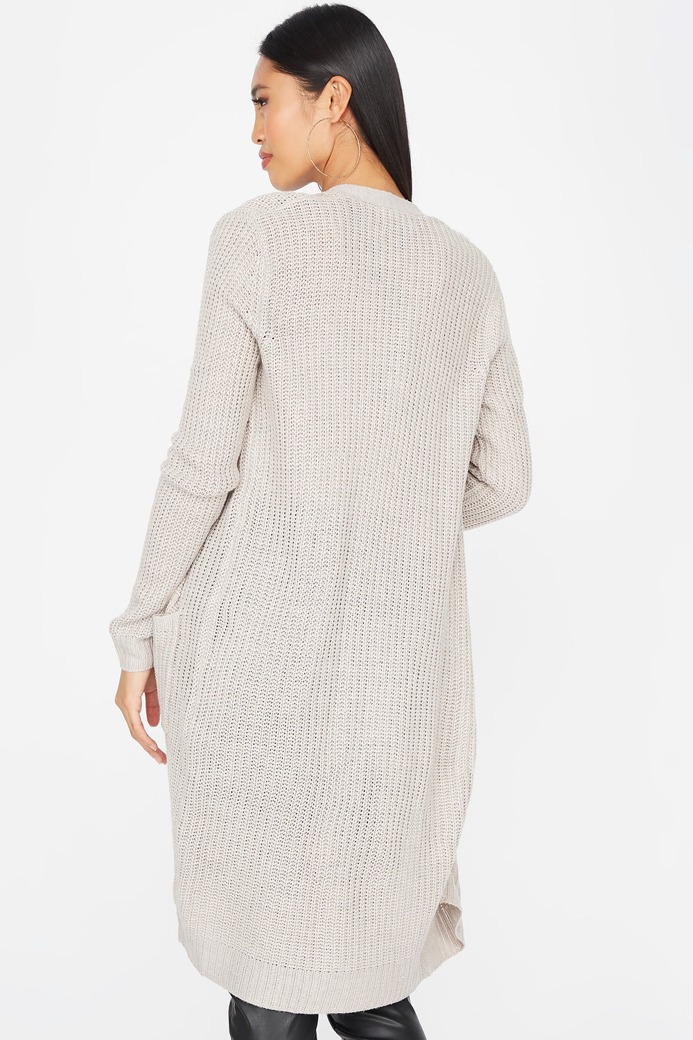 Knit Open Front Longline Pocket Cardigan Oatmeal