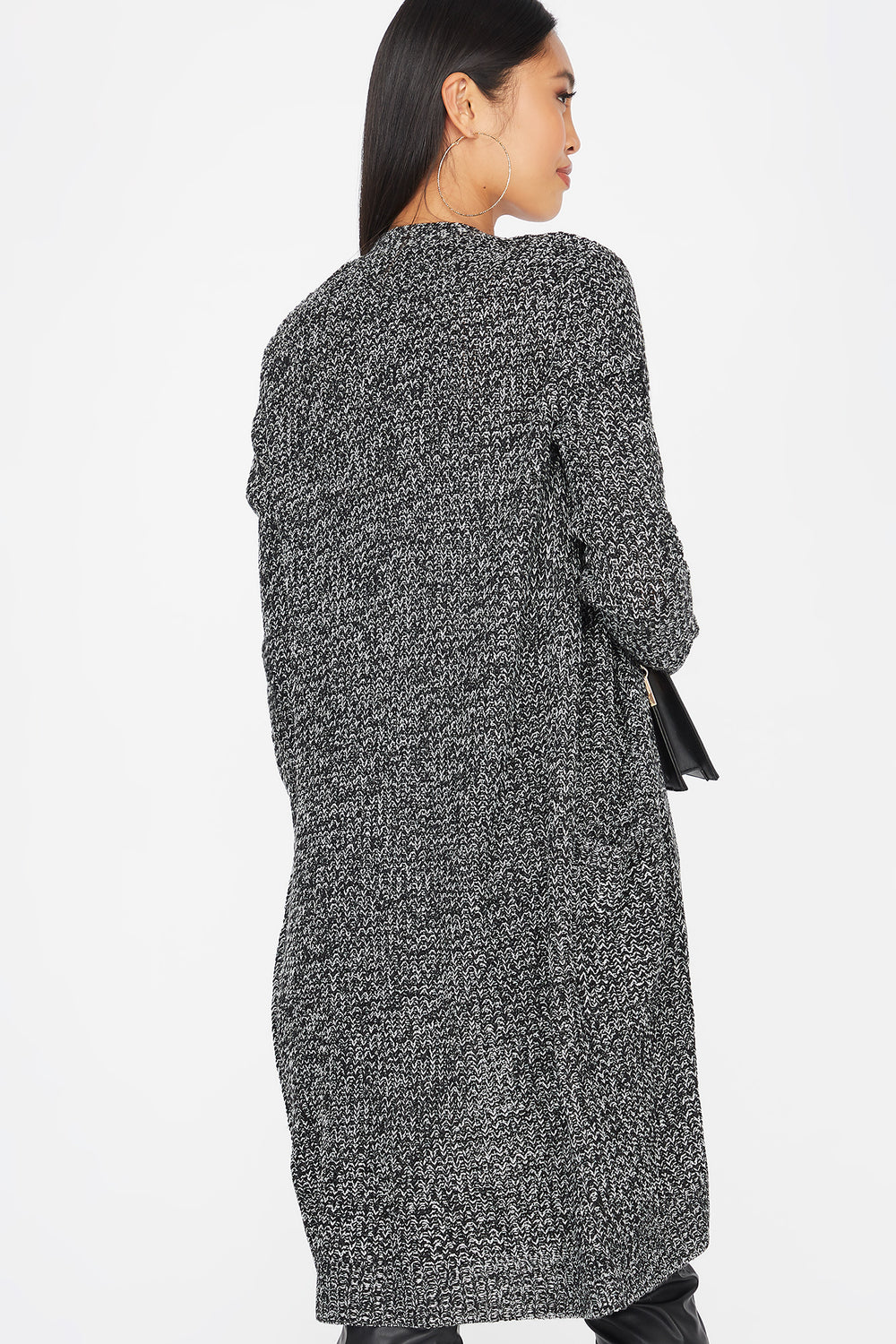 Knit Open Front Longline Pocket Cardigan Black with White