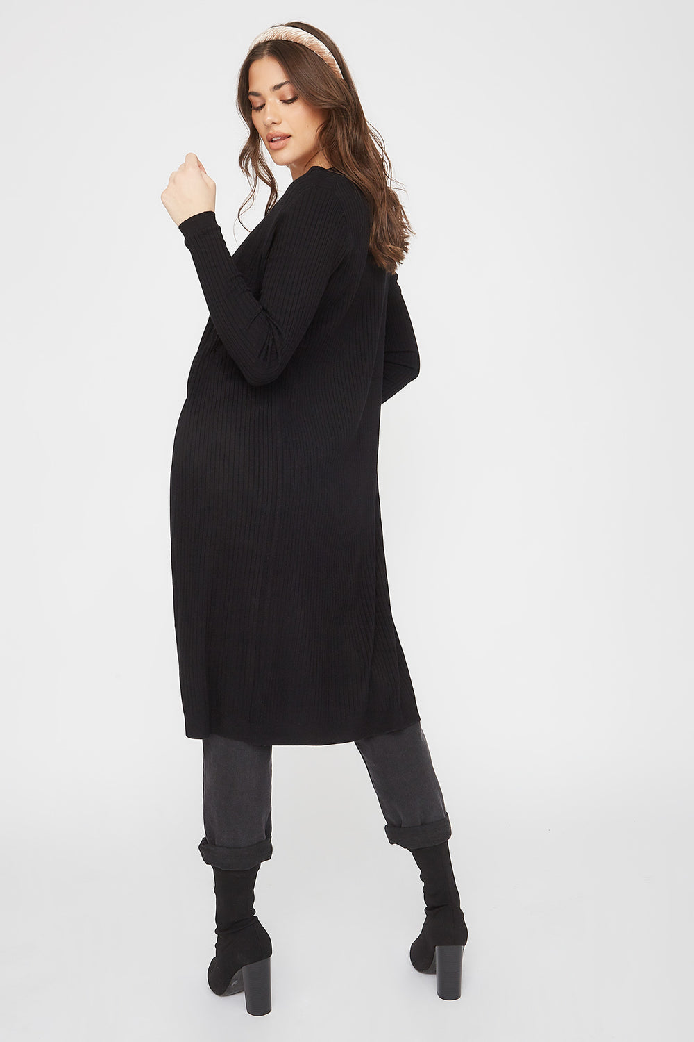Ribbed Open-Front Longline Cardigan Black