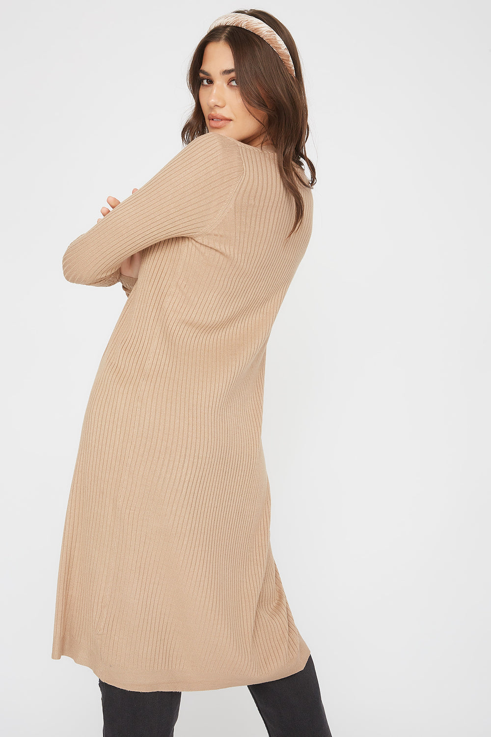Ribbed Open-Front Longline Cardigan Oatmeal