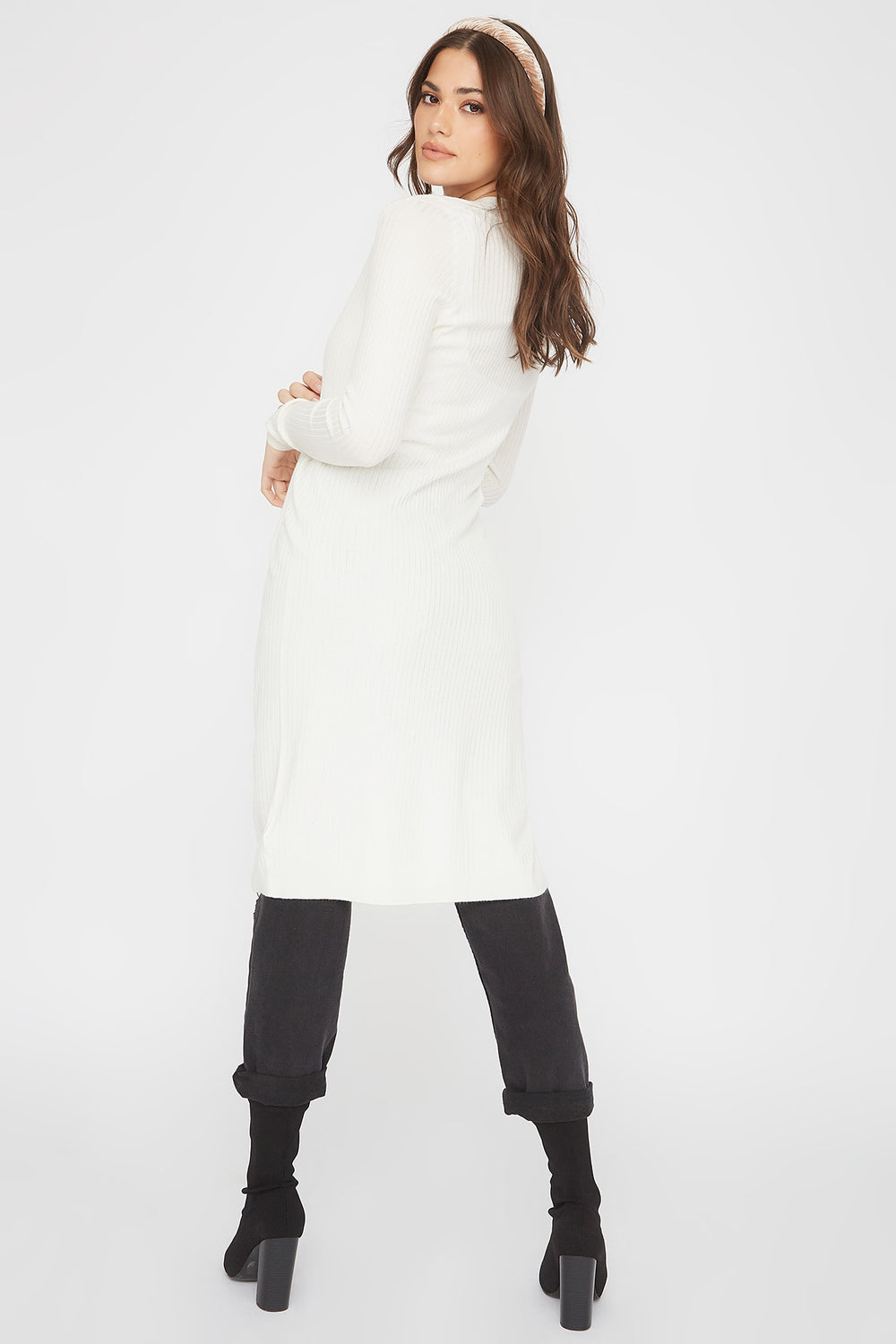 Ribbed Open-Front Longline Cardigan Ivory