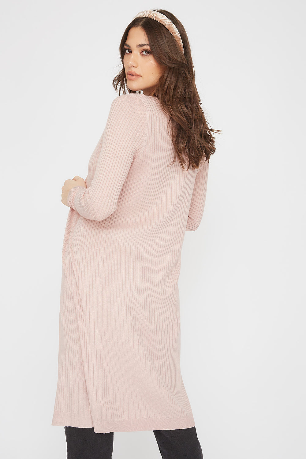 Ribbed Open-Front Longline Cardigan Light Pink
