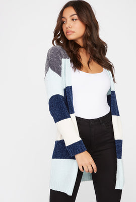 Chenille Colour Block Open-Front Cardigan