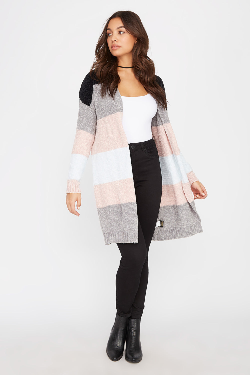 Chenille Colour Block Open-Front Cardigan Multi