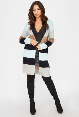 Colour Block Open-Front Longline Cardigan