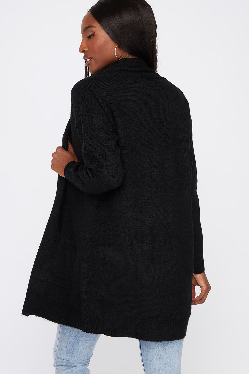 Mossy Open-Front Cardigan Black
