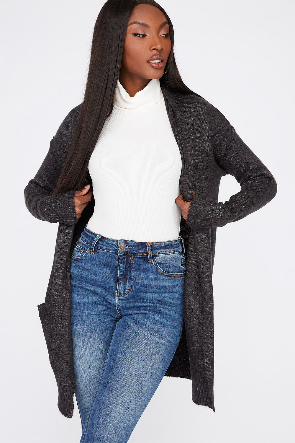 Mossy Open-Front Cardigan Charcoal