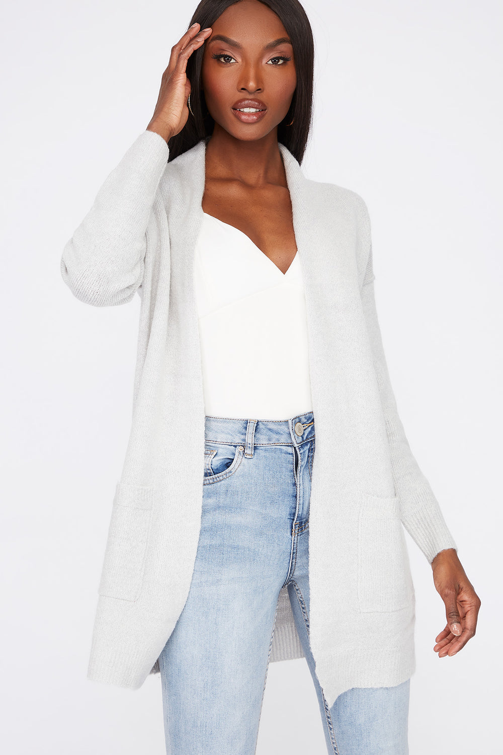 Mossy Open-Front Cardigan Heather Grey