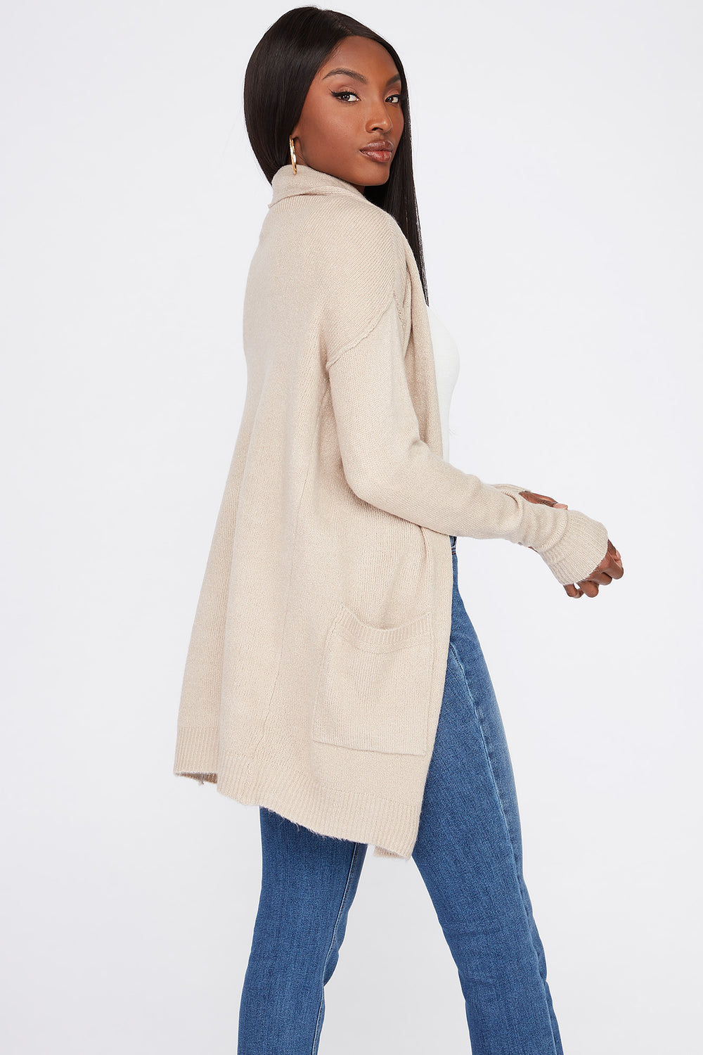 Mossy Open-Front Cardigan Oatmeal