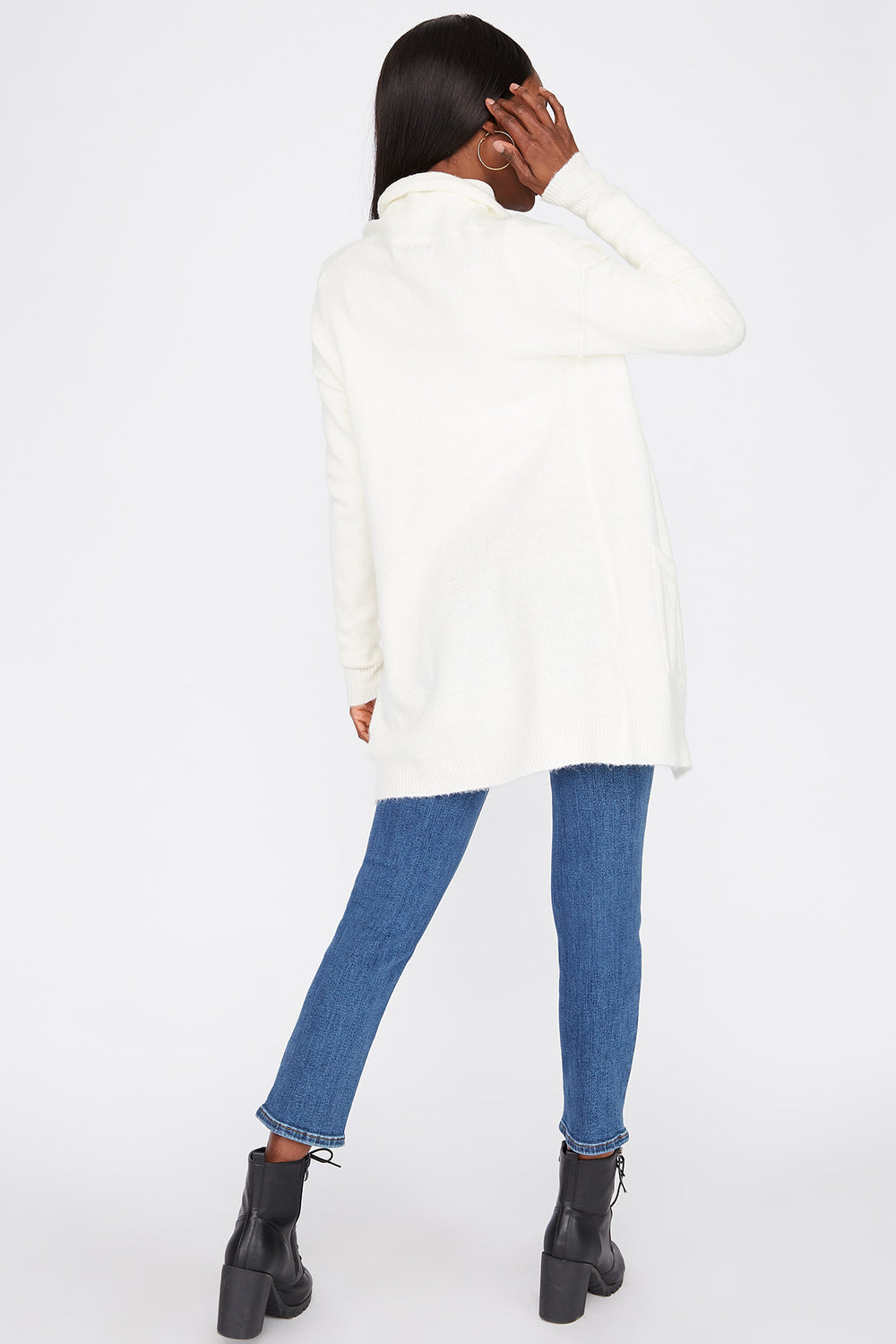 Mossy Open-Front Cardigan Ivory