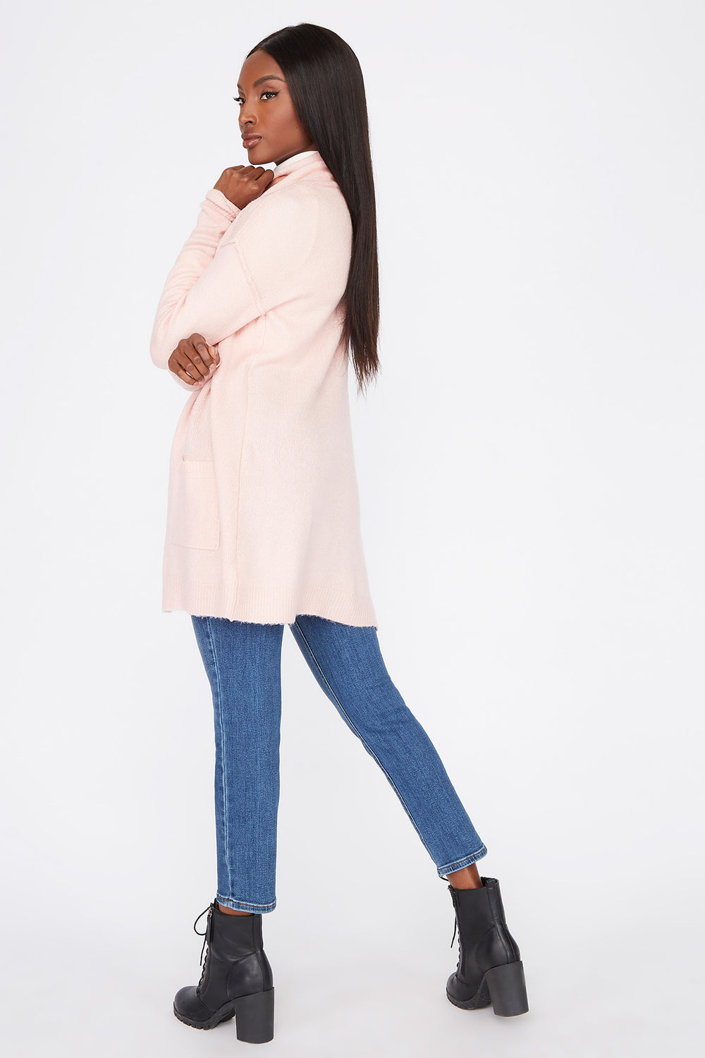 Mossy Open-Front Cardigan Dusty Rose