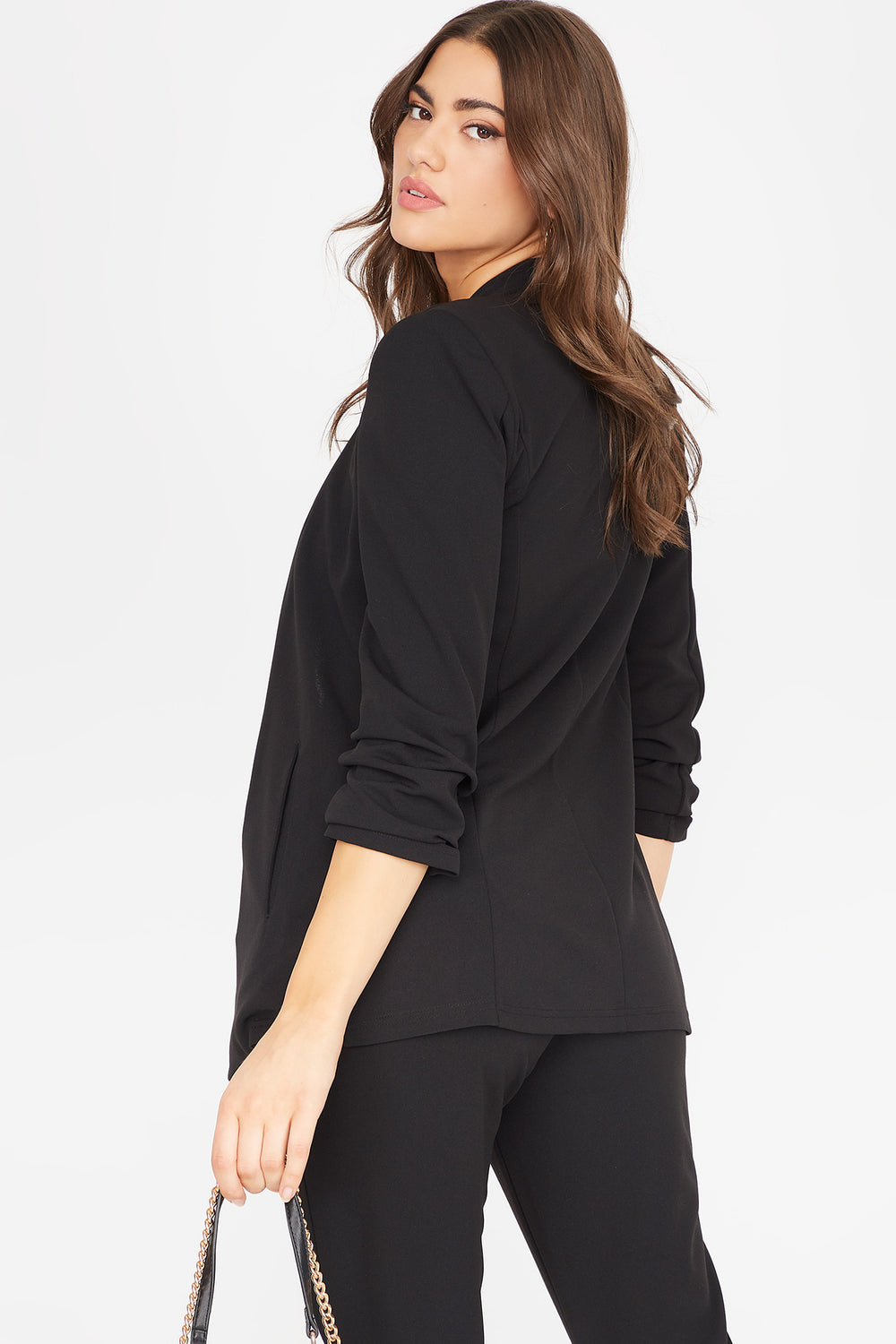 Ruched Sleeve Open Front Blazer Black
