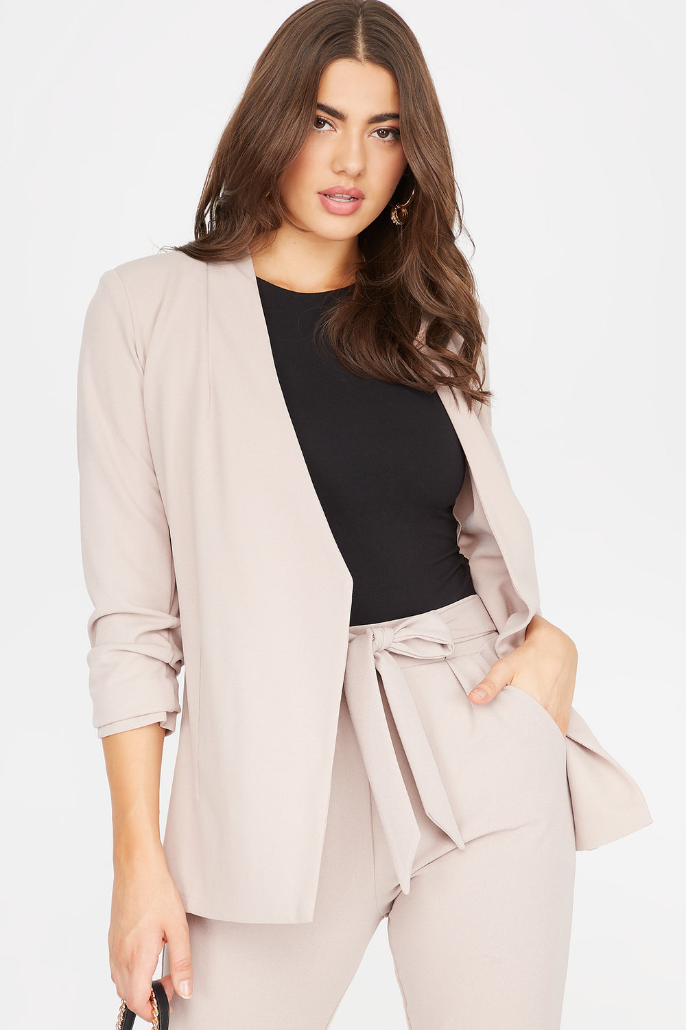 Ruched Sleeve Open Front Blazer Camel