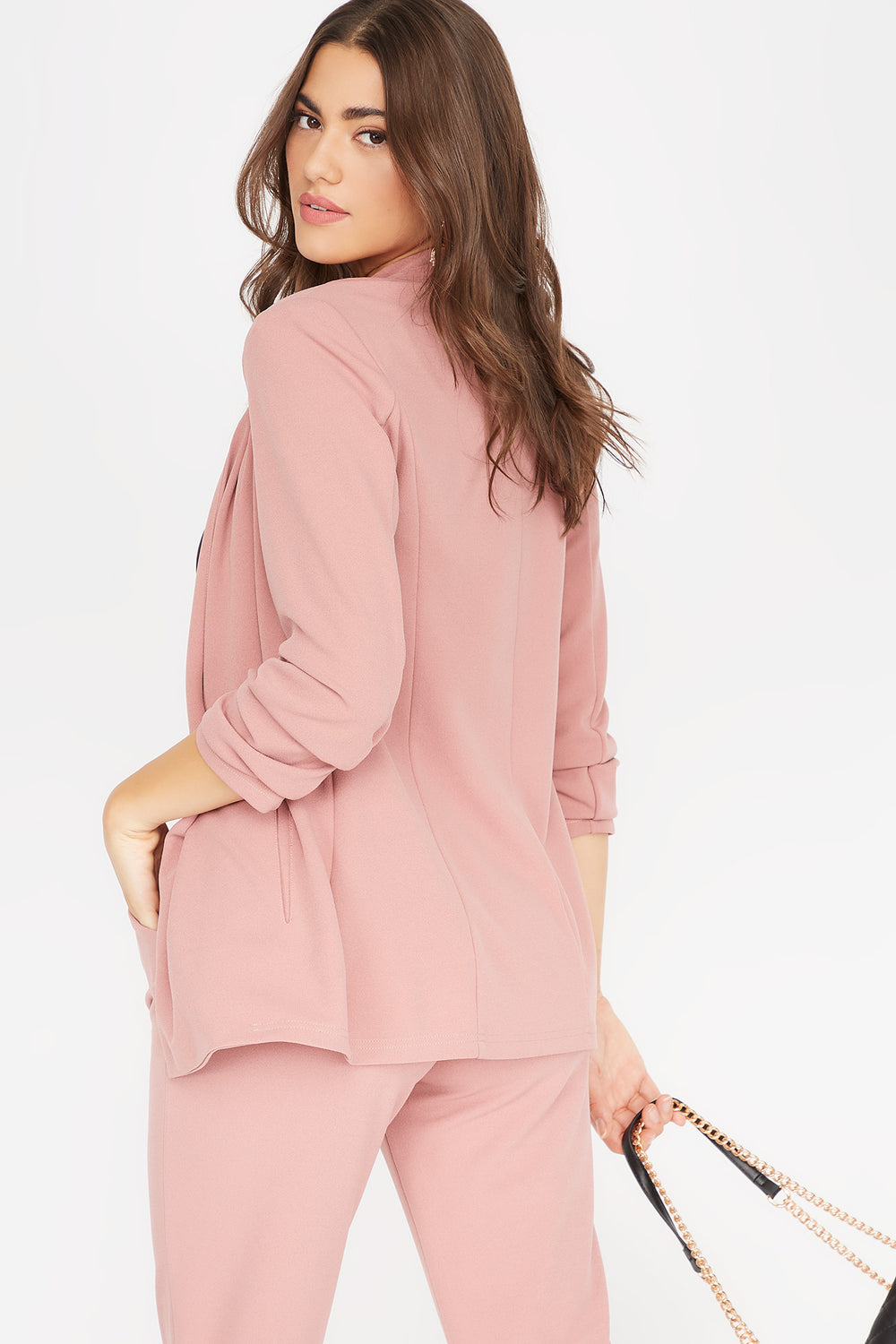 Ruched Sleeve Open Front Blazer Dusty Rose