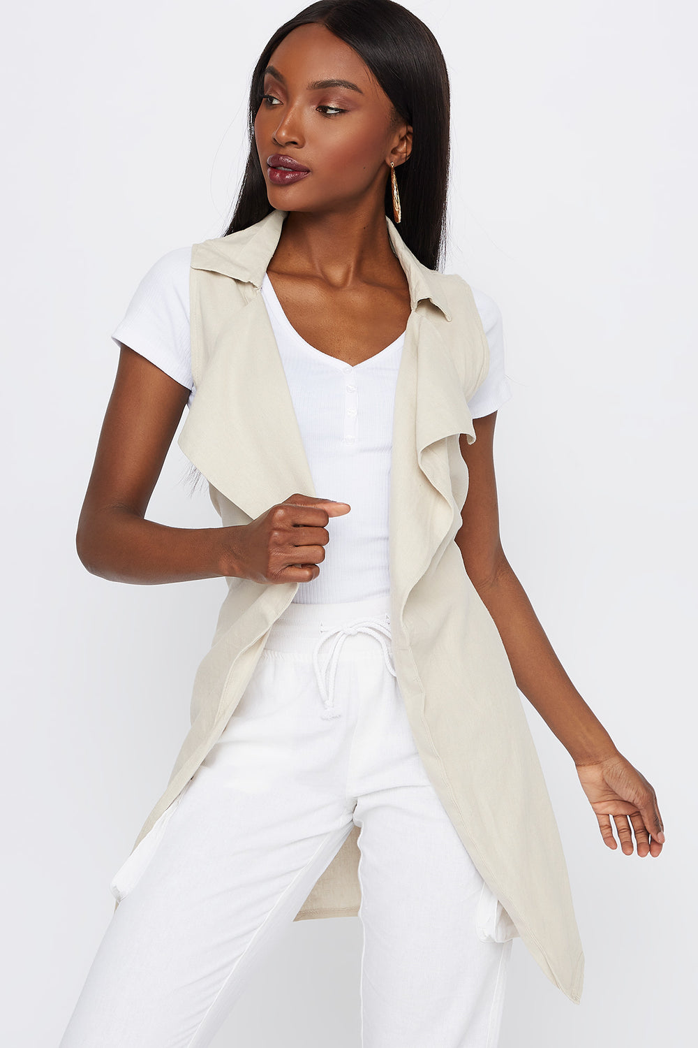 Linen Self Tie Waterfall Vest Natural