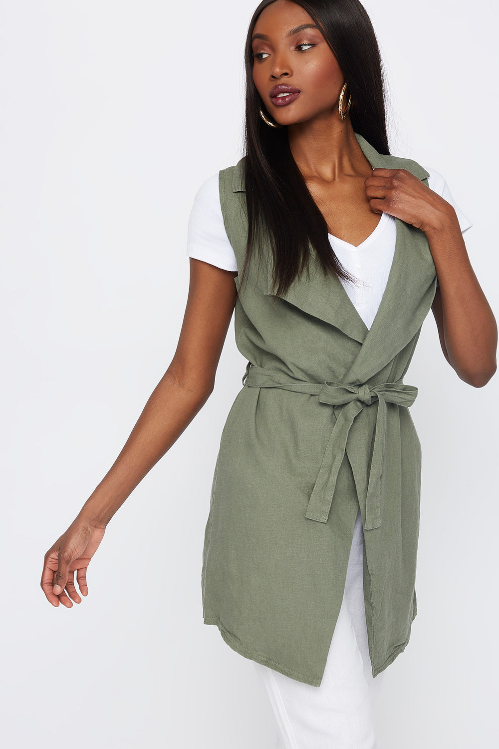 Linen Self Tie Waterfall Vest Dark Green
