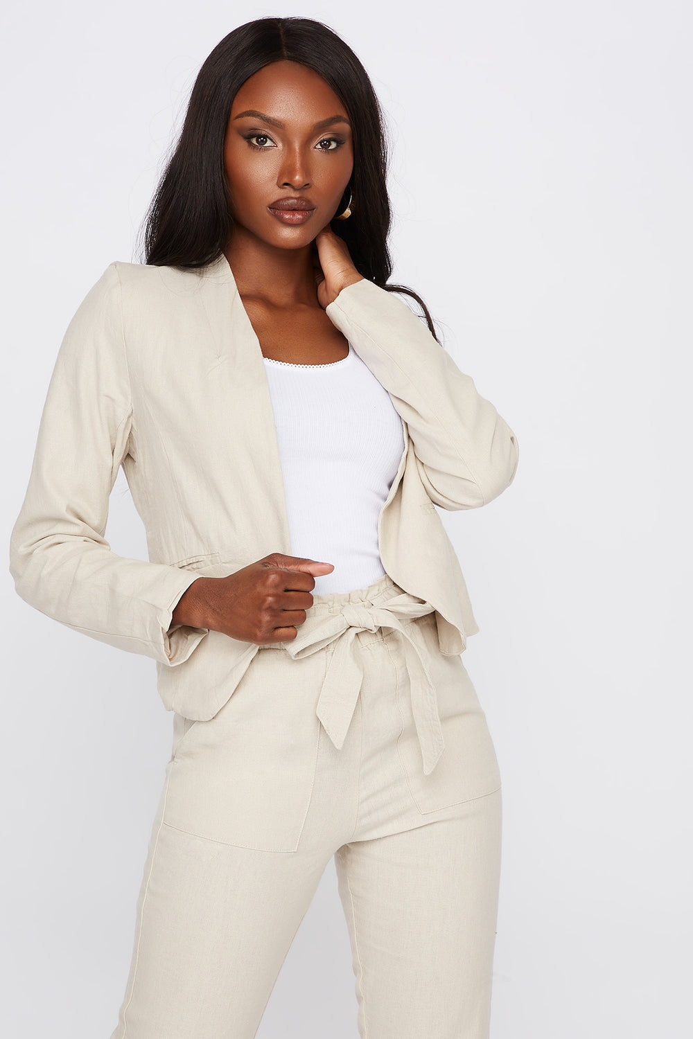 Linen Open Front Blazer Natural