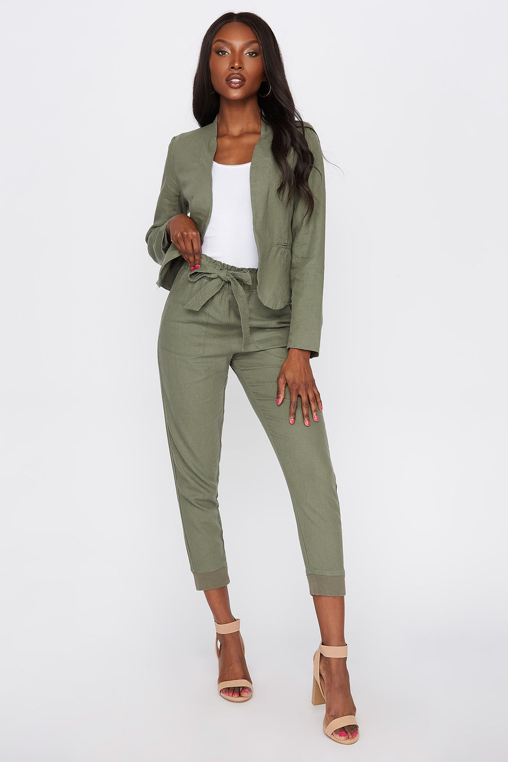 Linen Open Front Blazer Dark Green