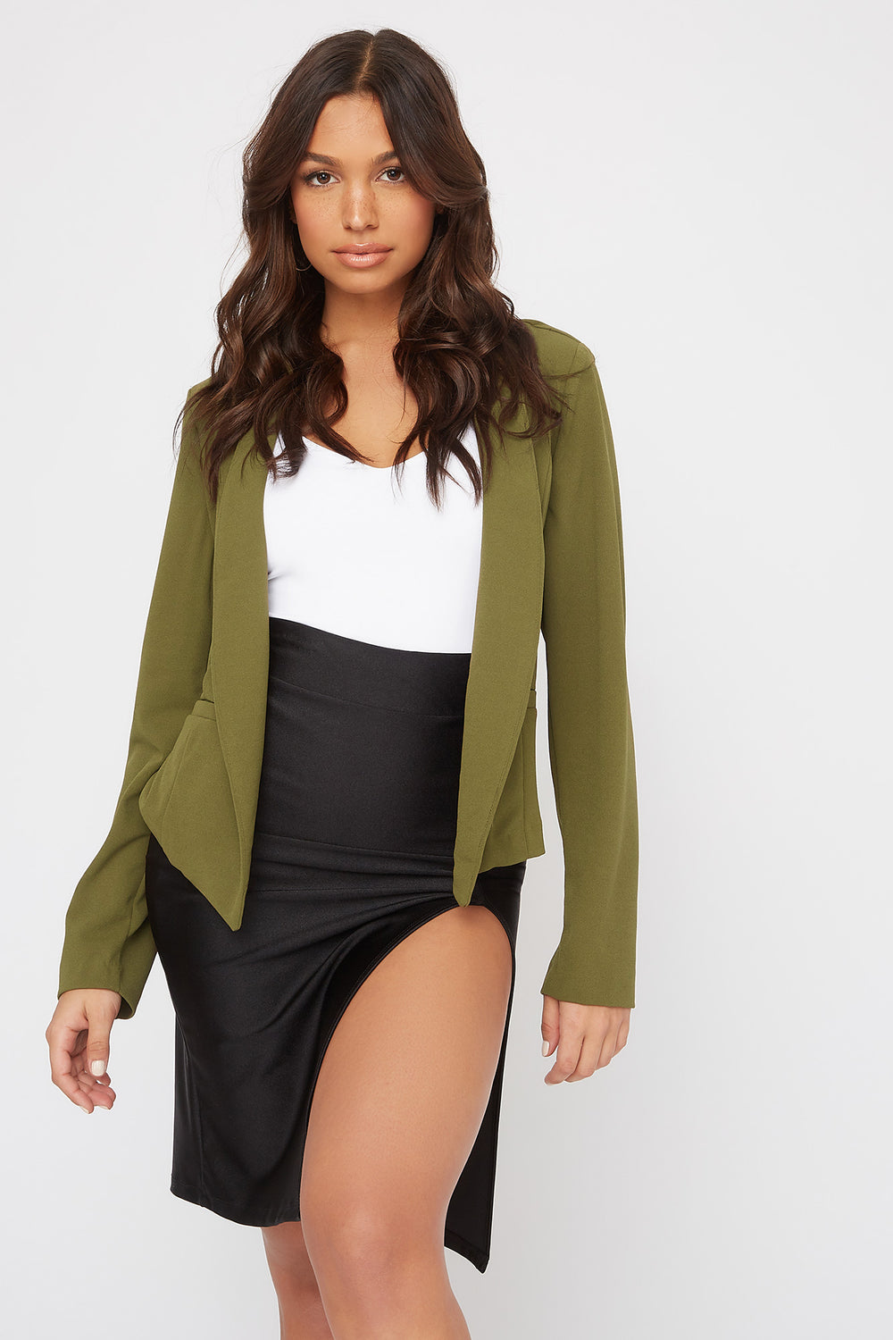 Peaked Open-Front Blazer Dark Green