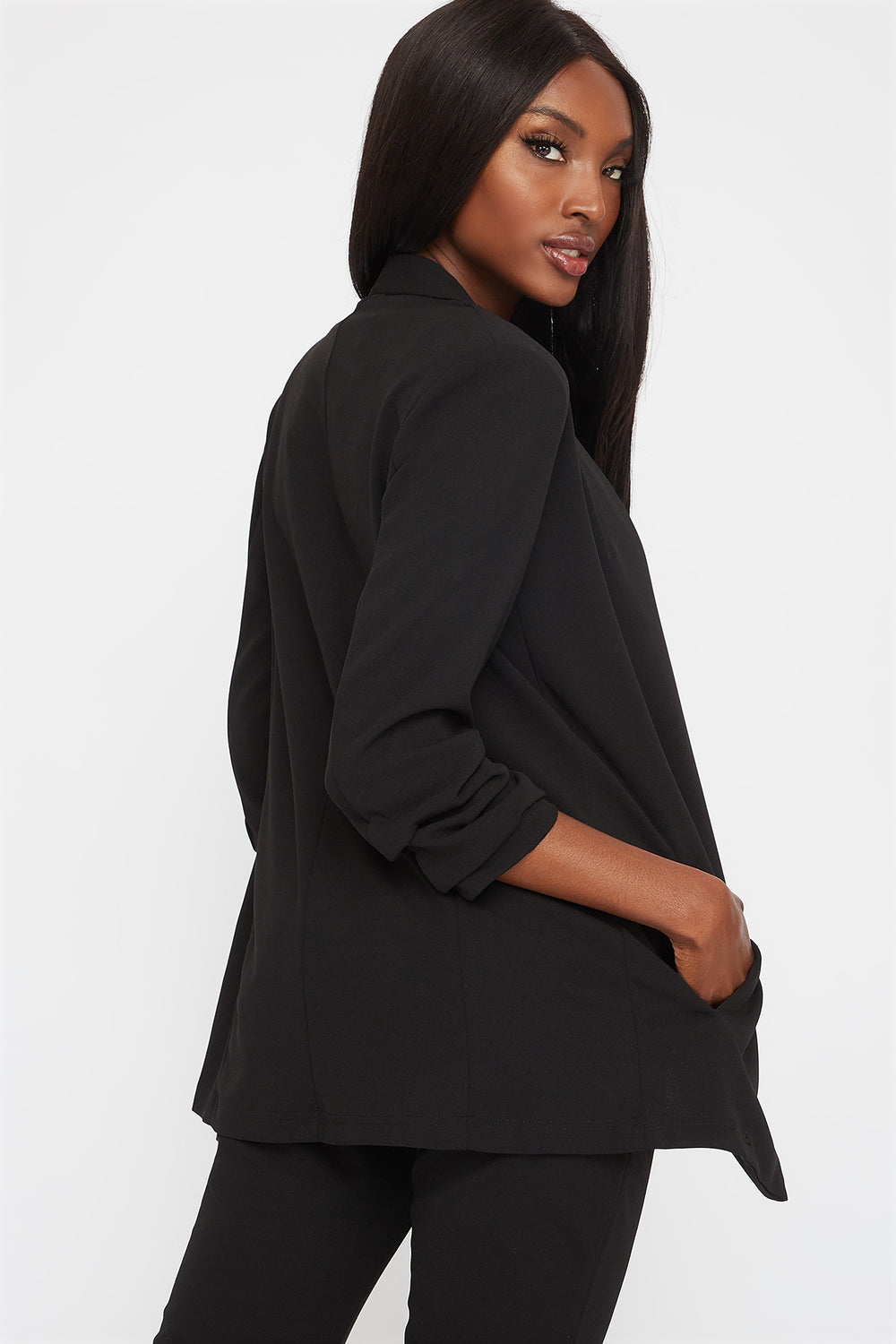 Pointed Ruched Sleeve Blazer Black
