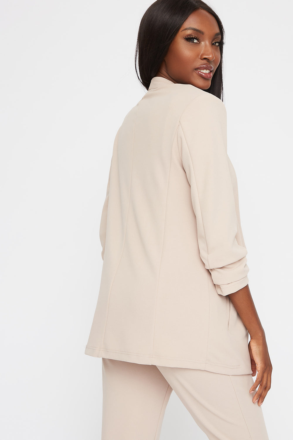 Pointed Ruched Sleeve Blazer Beige